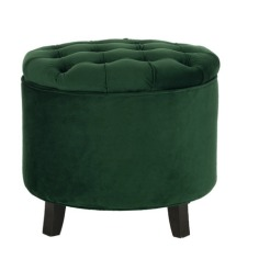 Emerald Velvet Tufted Footstool