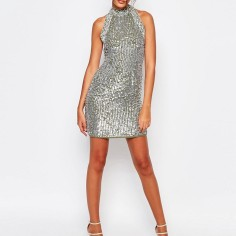 Sequined Turtleneck Dress