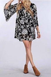 B&W Bell Sleeved Dress