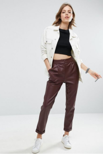 Oxblood Leather Pants